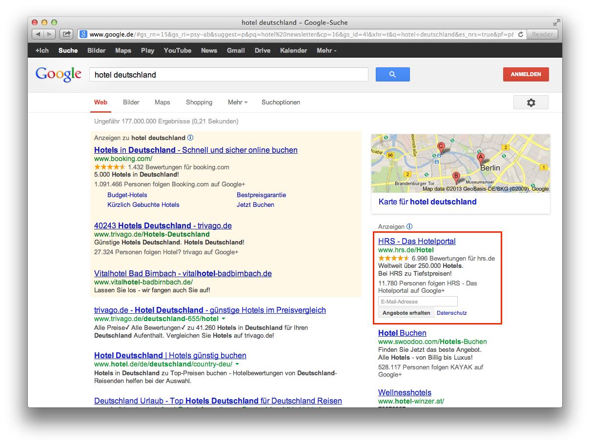 newsletter anmeldung in den suchergebnissen mit google adwords. Black Bedroom Furniture Sets. Home Design Ideas