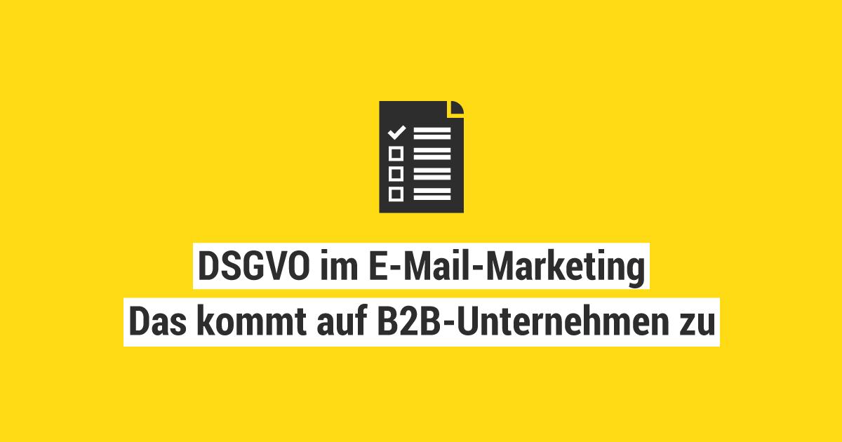 Dsgvo Im E Mail Marketing Das Kommt Auf B2b Unternehmen Zu Serie