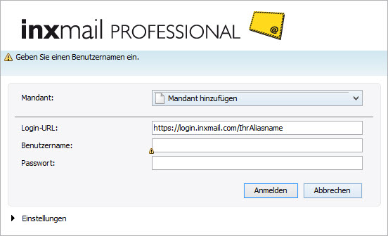 Inxmail Professional Client Login